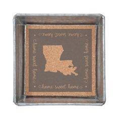 Wholesale home Sweet Home Louisiana metal trinket tray lined cork