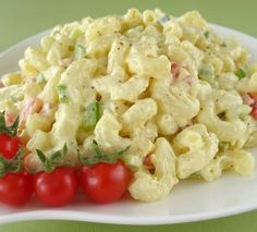High rated simple Macaroni Salad (mayo,vin,mustard,sugar,salt,pepper,celery,green pepper,red pepper,green onion,pasta)