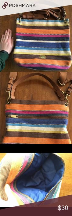 Colorful Fossil purse for sale! Gently used, in great condition! Offers are welcome. Fossil Bags Crossbody Bags