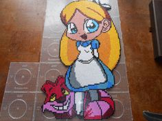 Alice in Wonderland with Cheshire Cat hama perler beads (17 pegboards) by swarovski