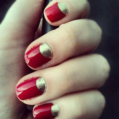 Red and gold nails. Inspired by Lizzy Caplan's nails in Bachelorette