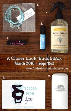 March's BuddhiBox Yoga Box revealed! Check out the yoga products in last month's box and enter to win the Limited Edition Zen Mom Box! http://www.findsubscriptionboxes.com/a-closer-look/march-2016-buddhibox-review/?utm_campaign=coschedule&utm_source=pinterest&utm_medium=Find%20Subscription%20Boxes&utm_content=March%202016%20BuddhiBox%20Review%20%2B%20Giveaway