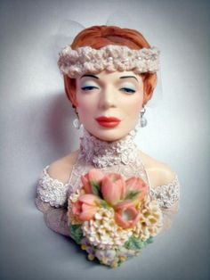Cameo Girls BLUSHING BRIDE CLARISSA Head Vase by DecadesAntiques