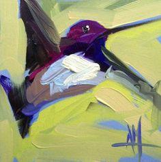 Hummingbird no. 205 Original Bird Oil Painting by Angela Moulton pre-order