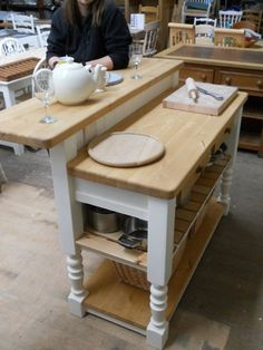 Shabby Painted Kitchen Island, Penninsular or servery unit, Made-to-Measure,F Painted Kitchen Island, Kitchen Island Bar, Kitchen Units, Kitchen Paint, New Kitchen, Kitchen Dining, Kitchen Decor, Cottage Kitchens, Home Kitchens
