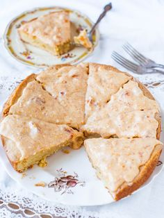 French Almond Cookie Cake with Apricot Cream Cheese Glaze recipe by Averie Cooks