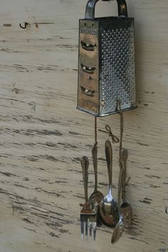 Handmade Windchimes Vintage Grater and Forks Spoons Silverware Handmade Windchimes, Recycled Silverware, Wooden Fork, Forks And Spoons, Country Crafts, Recycled Crafts, Suncatchers, Yard Art, Vintage Antiques