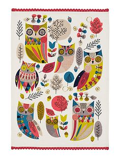 Autumn Owls Tea Towel | Marks & Spencer