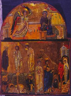 Annunciation, Transfiguration, and Raising of Lazarus · The Sinai Icon Collection Raising Of Lazarus, Icon Collection, Images, Painting, Art, Art Background, Painting Art, Kunst, Paintings