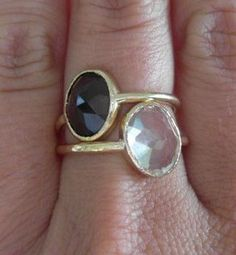 Recycled 14k Gold, Smokey Quartz Stacking Gemstone Ring, handmade by Michelle Lenae Jewelry. $290.00, via Etsy.