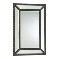 Merlin Lodge Rustic Nailhead Raw Iron Mirror. 42 inches high x 28 inches wide x 2 inches deep. Mirror is flat without a bevel. Constructed of iron and glass in an antique black finish featuring tacked, riveted details. Mirror is 32 lbs. Item has keyholes in back for horizontal or vertical hanging.