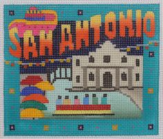 Denise DeRusha Designs San Antonio Hand Painted Needlepoint Canvas 18 count