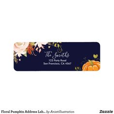 Floral Pumpkin Address Labels Fall Autumn Neutral A great addition to your party! Little pumpkin theme with neutral colors. Customize these invitations / products for your weddings. Fun Wedding Invitations, Custom Invitations, Invites, Custom Address Labels, Return Address Labels, Baby Shower Fun, Fun Baby, Diy Party, Ideas Party