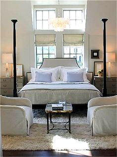 bed placement in front of double window pairs