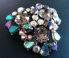 Signed SCHIAPARELLI Vintage Brooch Flower Glass AB Smokey Rhinestone HUGE! 6025