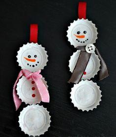 Sneeuwmannetje van bierdopjes #winter #snow #diy