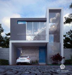 Santa Fe on Behance House Architecture Styles, Minimal Architecture, Architecture Design, Facade Design, Exterior Design, Villa, Modern House Design, Modern Luxury, Future House