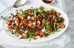 Sweet potato, lentil and feta salad This hearty, healthy salad is packed with roasted sweet potatoes, carrots and red onion, which pair wonderfully with Puy lentils and crumbled feta. Healthy Salad Recipes, Veggie Recipes, Vegetarian Recipes, Dinner Recipes, Cooking Recipes, Shrimp Recipes, Lentil Salad Recipes, Thai Recipes, Greek Recipes