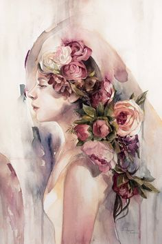 pink - woman with flowers - watercolor - Valerie Ann Chua Watercolor Face, Watercolor Portraits, Watercolor Flowers, Watercolor Paintings, Art And Illustration, Watercolor Illustration, Art Sketchbook, Portrait Art, Female Art