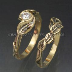 Gold DELICATE LEAF Wedding Ring Set  Engagement Ring by BandScapes, $1,750.00