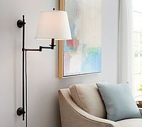 Elise Adjustable Sconce-This adjustable sconce stuns with simplicity from @potterybarn   Wall sconce, elegant wall lighting, sconce with shade