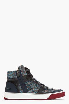 LANVIN Navy Leather & Tweed Sneakers