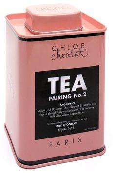 tea, chocolate, pink, pink tea tin, chocolate tea, valentines day
