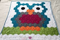 The crocheted Night Owl Blanket is a free pattern, made of hexagons. This blanket uses and easy join method to create the owl design. An easy pattern for beginners, with helpful videos, and photos.