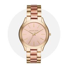 Michael Kors Slim Runway Rose Gold Gold Mk3493 Stainless Steel Bracelet, Stainless Steel Case, Gold Gold, Michael Kors Watch, Gold Watch, Runway, Quartz, Slim, Watches
