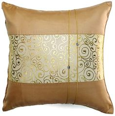 Single Metallic Brown Silk Throw Cushion Pillow Cover Case Gold Print Middle Stripe for Decorative Living Room Sofa Car Size 16 Inches ** Check this awesome product by going to the link at the image. Mole Repellent, Rabbit Habitat, Christmas Pillow Covers, Dining Room Bar, Cushion Pillow, Gold Print, Throw Cushions, Living Room Sofa, Size 16