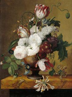 Jan Frans van Dael (Flemish Painter, 1764-1840) Tulips, Honeysuckle, Peonies, and Roses in an Urn