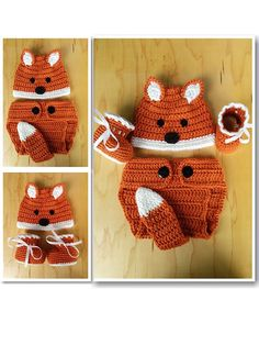 Crochet Baby Fox Set: Hat Diaper Cover and Booties by MilasCraft