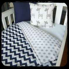 Navy chevron cot quilt with grey spots by MamaAndCub on Etsy