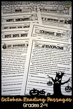 Here are some non-fiction reading passages filled with lots of fun facts about the month of October. Use them as warm up activity, for early finishers or in a reading center. Reading Comprehension Activities, Reading Fluency, Reading Passages, Teaching Reading, Guided Reading, Learning, Teaching Ideas, Third Grade Reading, Second Grade