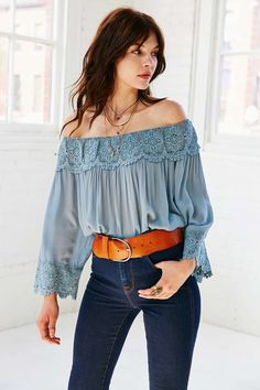 Kimchi Blue Crochet Wide-Sleeve Blouse - Urban Outfitters