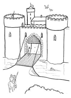 Castle Coloring Page Castle Coloring Page, Coloring Book Pages, Coloring Sheets, Coloring Pages For Teenagers, Coloring Pages For Kids, Chateau Moyen Age, Castle Crafts, Castle Drawing, Medieval Crafts