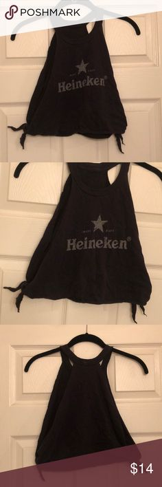 Heineken Logo Gray Cutup Crop Top Bought this already cut this way from a boutique! Cute to wear with a lace bralette Tops Crop Tops