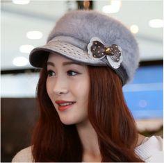 winter bow beret hat rabbit fur for women
