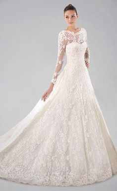 Pretty Long Sleeve Wedding Gown with Lace Overlay and Watteau Train, Quality Unique Wedding Dresses Princess Wedding Dresses, Dream Wedding Dresses, Bridal Dresses, Lace Wedding Dress With Sleeves, Long Sleeve Wedding, Dress Lace, Beauty And Fashion, Fashion Women, Dress Vestidos