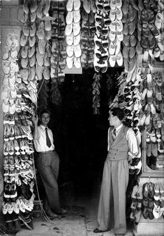 Shoe Store in Athens. 24 x cm. Photographer& stamp, agency label, typed paper label and annotated in pencil on the verso.Some traces of use and tear and creases in right edge, retouching for publication. Old Pictures, Old Photos, Vintage Photos, Kai, Photography For Sale, Greece Photography, Gelatin Silver Print, Famous Photographers, Athens Greece