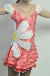 Custom Country figure skating dress by Sk8 Gr8 Designs, the daisy looks so cute in a spin! www.sk8gr8designs.com