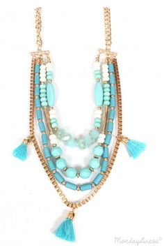 Come With Me Now Turquoise Layered Necklace - mondaydress.com
