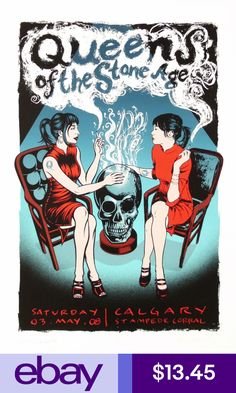 Title: Queens of the Stone Age Poster artist: Hampton, Justin; Burns, Casey Edition: Artist Edition, Signed & Numbered out of 150 Year: 2008 Type: Limited edition screen printed poster Size: 18 X 26 Location: Calgary, CAN Venue: Calgary Stampede Corral Retro Poster, Poster Art, Screen Print Poster, Poster Prints, Rock Posters, Band Posters, Concert Posters, Concert Rock, Art Hippie