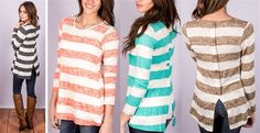 These little darlings couldn't be more perfect. She features crisp wide stripes, in the season's favorite colors! Made of a rayon/poly/spandex mix, she offerscomfortfor days! The buttonsdown the center back add a fun amount of detail, but keep your entire look nice and classy! Wear her with skinnies and boots for an effortlessly easy look!Made in the USA!!!SIZING: Small 0-4Medium 6-8Large 10-12*Model is 5'5 wears a 0/2 and is ...