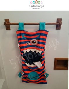 DIY Monster Laundry bag kids bathroom decor by 5MonkeysDesigns