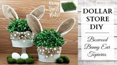 Dollar Store DIY ~ Boxwood Bunny Ear Topiaries ~ Easter & Spring Rustic Home Decor! - Craft World Dollar Tree Decor, Dollar Tree Crafts, Easter Projects, Easter Crafts, Easter Ideas, Easter Dyi, Bunny Crafts, Jar Crafts, Crafts For Kids