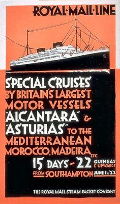WONDERFUL A4 GLOSSY PRINT - 'ROYAL MAIL LINE - SPECIAL CRUISES' (A4 PRINTS - VINTAGE TRANSPORT ADS / FLYERS) by Unknown http://www.amazon.co.uk/dp/B004OFI2T8/ref=cm_sw_r_pi_dp_uGCnvb1GSH9Q9