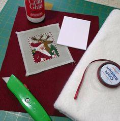 Christmas ornament tutorial - The Prairie Schooler finishing style (for cross-stitch) Xmas Cross Stitch, Cross Stitch Christmas Ornaments, Just Cross Stitch, Cross Stitch Finishing, Noel Christmas, Cross Stitching, Cross Stitch Embroidery, Xmas Ornaments, Cross Stitch Designs