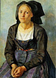 Louis-Philippe Kamm / Jeune femme en costume alsacien