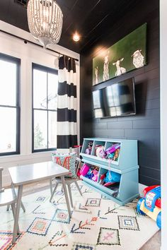 Trend: High Contrast Design - Carlton Landing, playroom decor or bonus room decor Sunroom Playroom, Modern Playroom, Playroom Design, Playroom Decor, Playroom Ideas, Kid Playroom, Colorful Playroom, Modern Kids Rooms, Blue Playroom